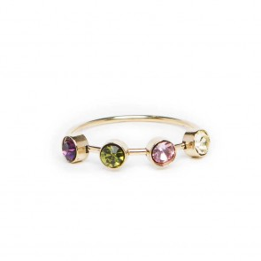 Silis The Ring Small Strass Purple Green & White Strass