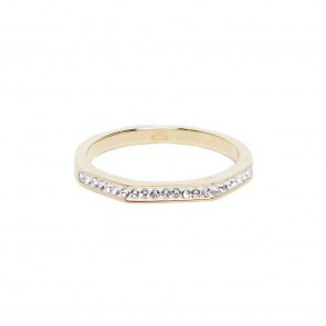 Silis The Ring Square Gold & White Strass
