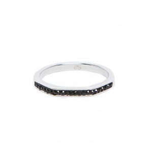 Silis The Ring Square Silver & Black Strass