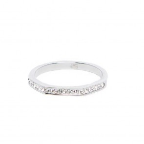 Silis The Ring Square Silver & White Strass