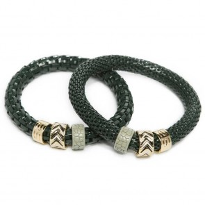 Silis The Snake Strass Frozen Green & Enamel