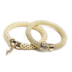 Silis The Snake Strass Yammy Yellow & Flamingo Charm Bracelet